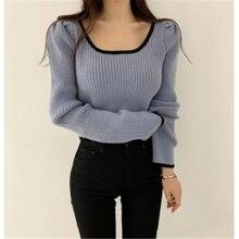 Женские вязаные свитера осень зима сексуальный низкий квадратный