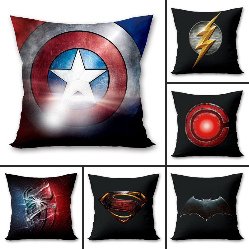 1PC 45x45cm Superhero Marvel Superman Iron Spiderman Polyester Peachskin Pillowcases Waist Pillow Cover Decorative Pillows Cover