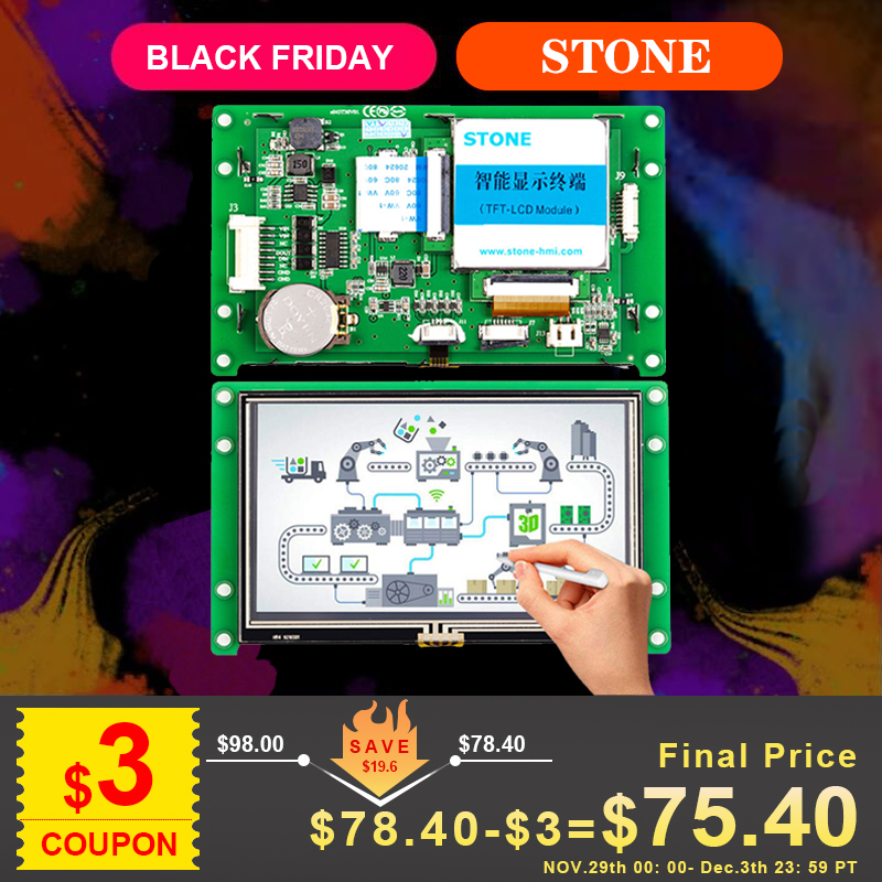 4.3 Inch HMI TFT LCD Module Display + Touch Panel + Controller Board + Software Support Any Microcontroller