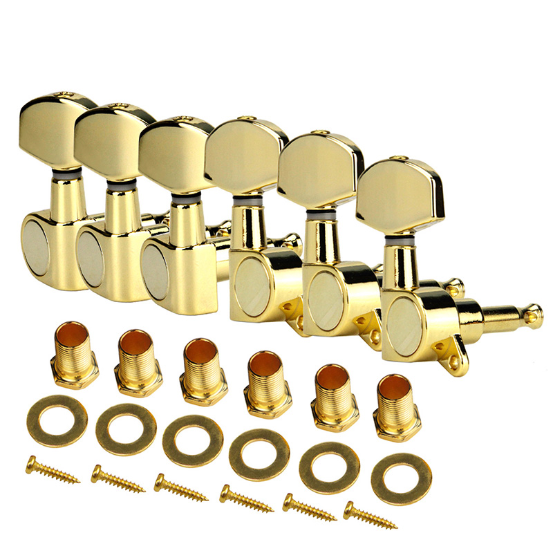 Ensemble de ELOS-A 6 pièces Chrome verrouillé chaîne Tuning chevilles clé accordeurs têtes de Machine pour acoustique guitare électrique serrure Style Schaller - 4