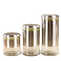 Stainless Steel Airtight Canister Set Food Storage Container for Kitchen Counter Grains Sugar Coffee Canister with Clear Glass B