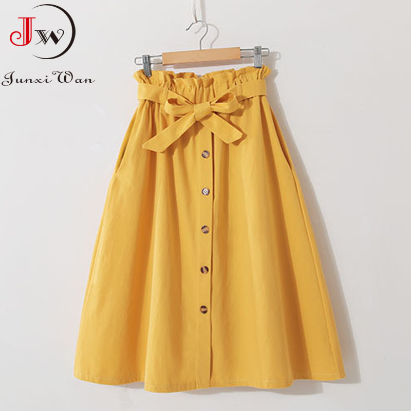 Women Casual Cotton Skirts 2021 Spring Summer Korean Style Solid Elegant High Waist Single-Breasted Bow Lace Up A-Line Midi Skir 3