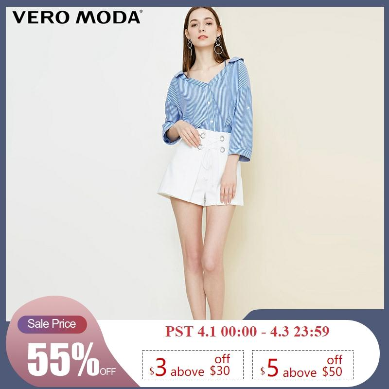 Vero Moda Women's Lace-Up Collar Stripe 3/4 Sleeves Shirt | 318331525