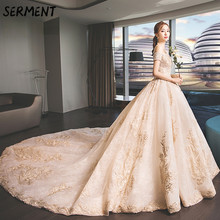 SERMENT Luxury Lace Wedding Dress Up Tail Long Sleeve Aristocratic Elegant Bride Print Explosion