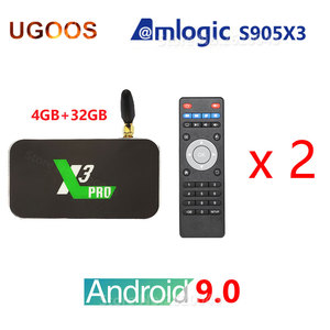 2 pièces/lot UGOOS X3 PRO décodeur Amlogic S905X3 Android 9.0 X3 CUBE 2GB 4GB DDR4 16GB 32GB 2.4G 5G 1000M Bluetooth lecteur multimédia