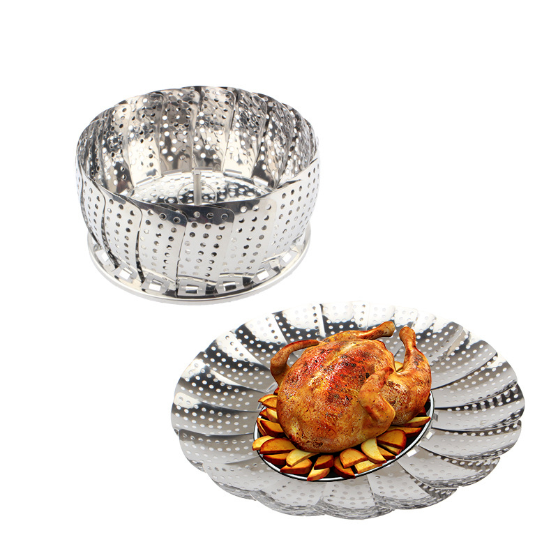 More Function Flexible Steamer Stainless Steel Fold Steaming Rack Household Accept Fruits Basket Foldable Lotus Steaming Lattice