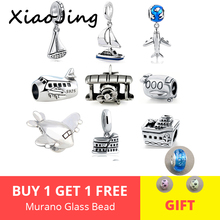 Aliexpress diy design charm bracelet little boat and plane 925 silver pandora beads fit authentic pendant jewelry tool