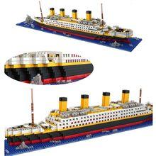 Loz 1860 pçs titanic navio de cruzeiro modelo barco diy diamante lepining blocos de construção tijolos kit crianças brinquedos presente natal