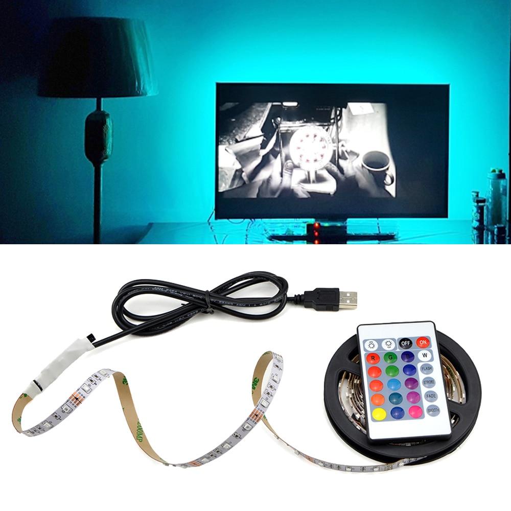 5V 50CM 1M 2M 3M 4M 5M USB Cable Power LED strip light lamp SMD 3528 Christmas desk Decor lamp tape For TV Background Lighting(China)