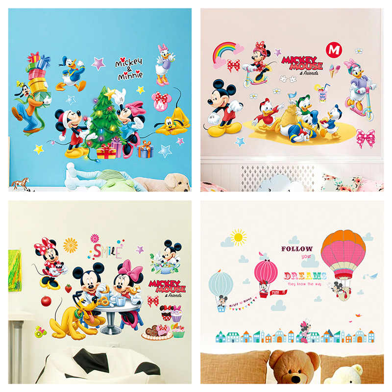 Cartoon Minnie Mickey Mouse Wall Stickers For Kids Room Birthday Party Festival Decoration Anime Wall Mural Art Diy Home Decals