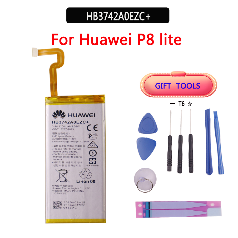 100% Original Battery HB3742A0EZC For Huawei P8 Lite Ascend P8 Lite Real Capacity 2200mAh Batteria With Free Tools