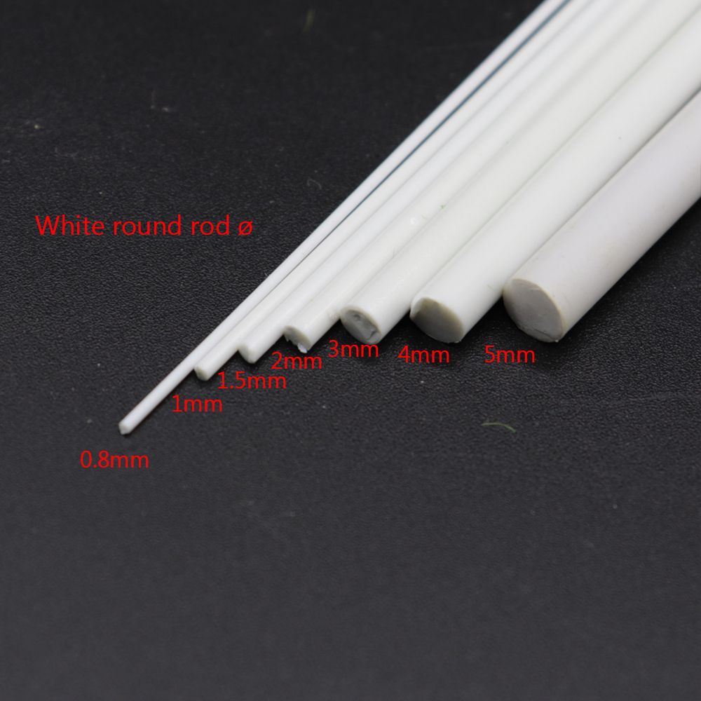 White Round Stick Model Toy Diameter 0.5-6mm DIY Making Scenery Building Structure Train Sand Table Landscape ABS Diorama 100pcs