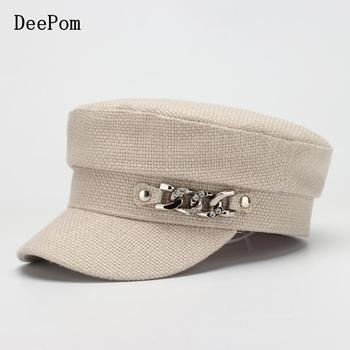 COKK, sombrero militar para mujer, gorra plana de algodón para pintor, sombreros para mujer, sombrero Primavera Verano con cadena plateada, diseño de moda coreano, nuevo