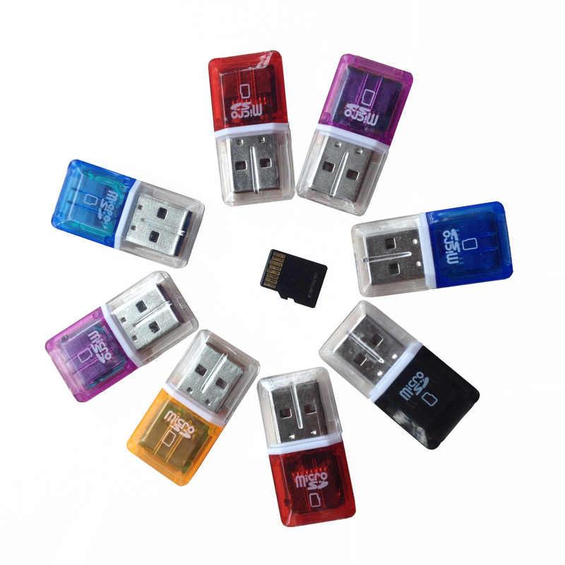 شفافة البسيطة USB 2.0 قارئ بطاقات ل بطاقة MS مايكرو TF بطاقة قابس مهايئ والتشغيل ملون اختيار من للكمبيوتر لوحي