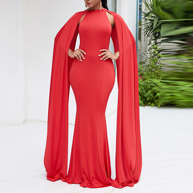Cap Sleeve Bodycon Evening Dress Red Elegant Party Prom Dresse Sexy Club Women Long Dress Black Solid Off Shoulder Mermaid Dress