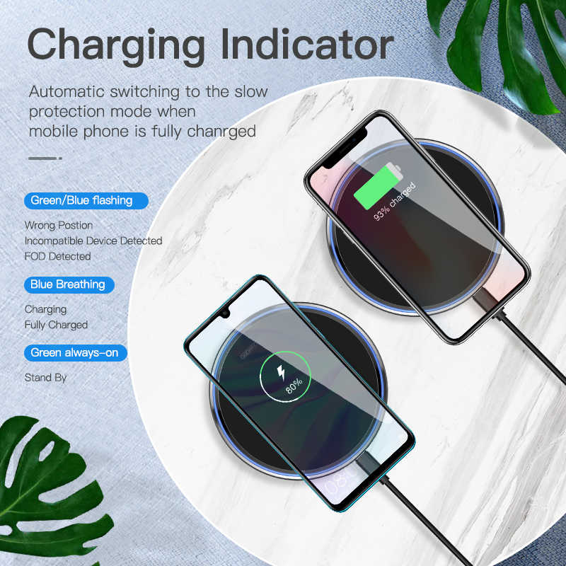 Kuulaa 10W Qi Wireless Charger untuk iPhone X/X Max XR 8 PLUS Cermin Nirkabel Pengisian Pad untuk samsung S9 S10 + Catatan 9 8