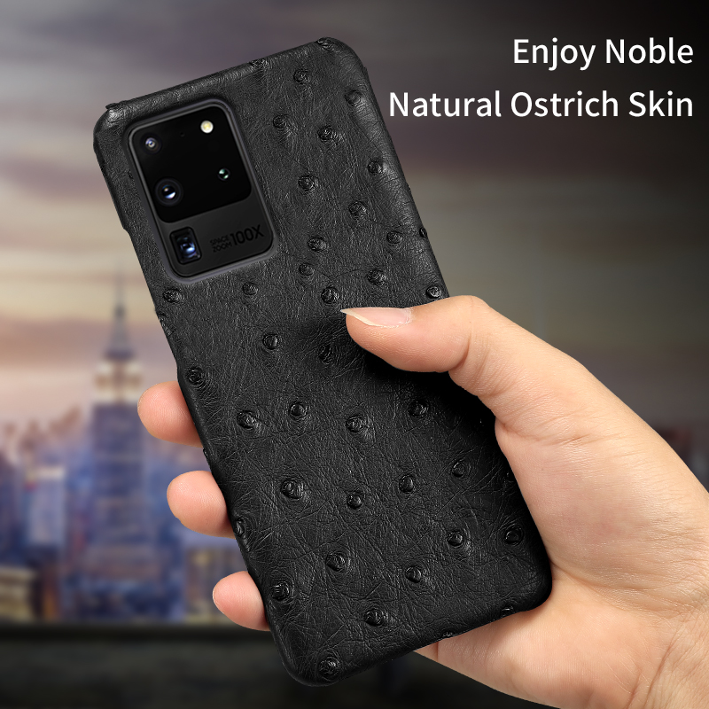 100% Genuine Ostrich Leather Phone Case For Samsung Galaxy S20 Ultra S8 S9 S10 S20 Plus A51 A50 A70 A71 Note 10 20 Luxury Cover