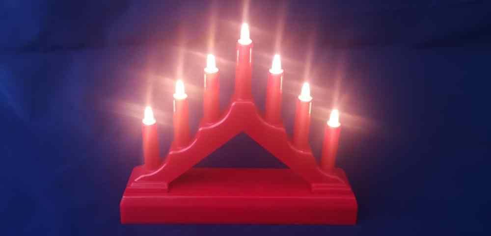 7 DEL de Noël de Noël Table candle stick Pont Support Batterie en Bois Décoration