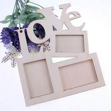 Hollow Tri-ply Wood Blank Love DIY Painting Picture Photo Frame Home Decor DIY Love Wooden Family Frames Blank Art Home Ornament(China)