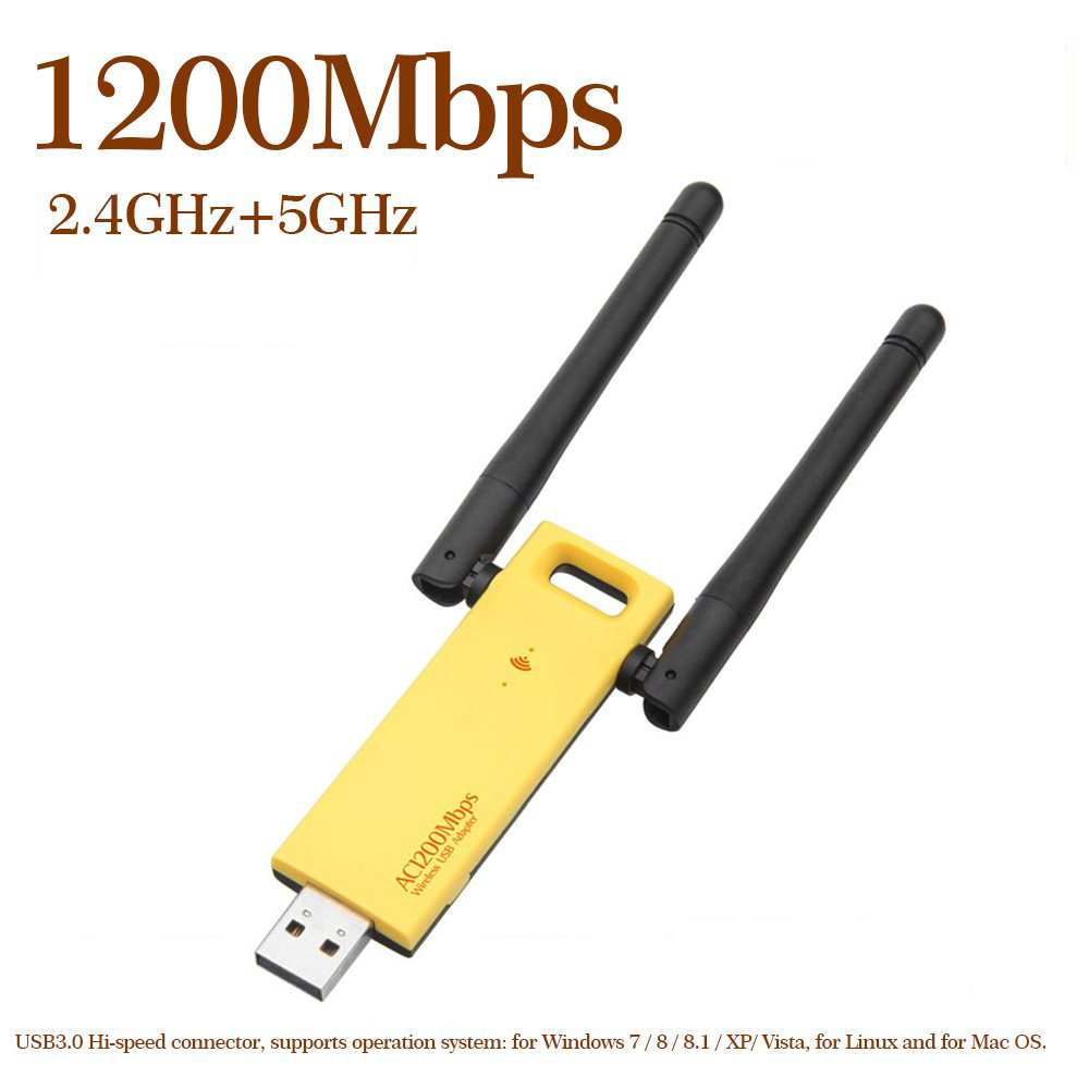 1200Mbps USB 3.0 WiFi Adapter Dual Band 2.4G 5G AC1200 Wireless Network WiFi Adapter Ethernet 802.11AC W/ Antenna For Laptop PC