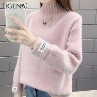 Женский милый вязаный свитер с длинным рукавом TIGENA, водолазка, толстый теплый пуловер, джемпер для женщин на зиму