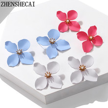 7 types of Candy Color stud earring print yellow white blue Pink flowers earrings for women wedding party jewelry gift 2019(China)
