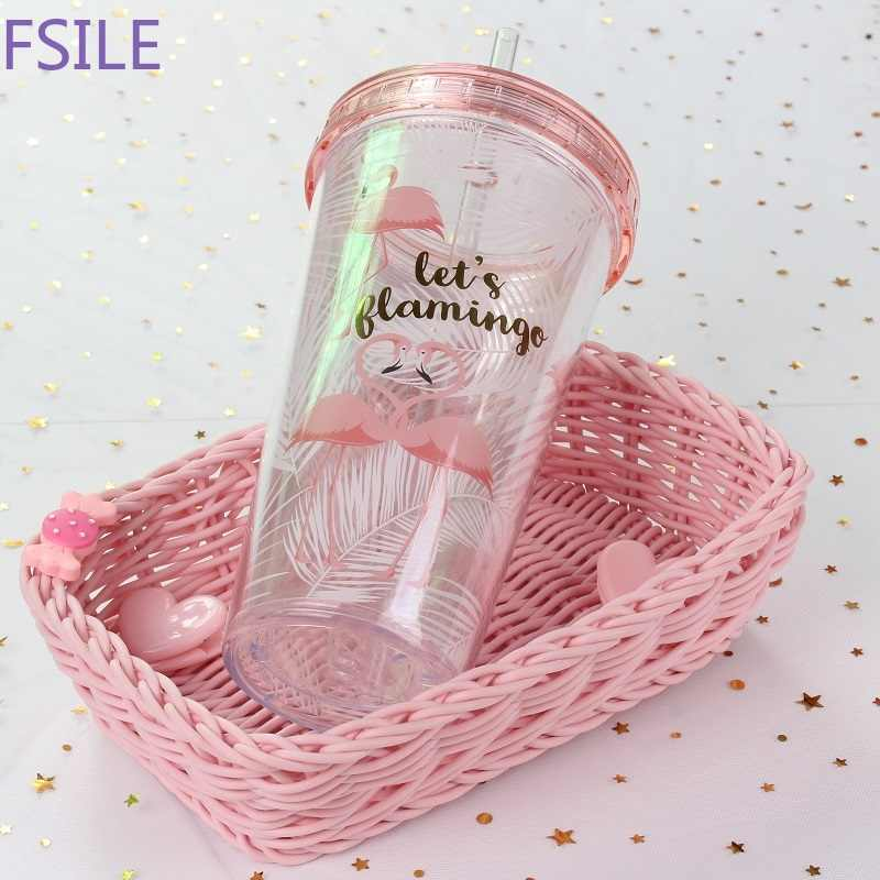 500 мл Фламинго пластиковые чашки с соломинкой милый мультфильм контейнер для напитков с двойными стенками кофе чай молоко сок воды чашки креативный подарок