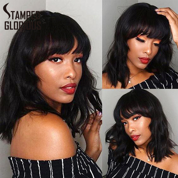 Stamped Glorious Bob Wig Black Synthetic Short Wavy Wig with Bangs Heat Resistant Fiber African American wigs for Women 2 6 inch bob short wig with flat bangs black 100% breathable realistic high temperature resistant synthetic wig