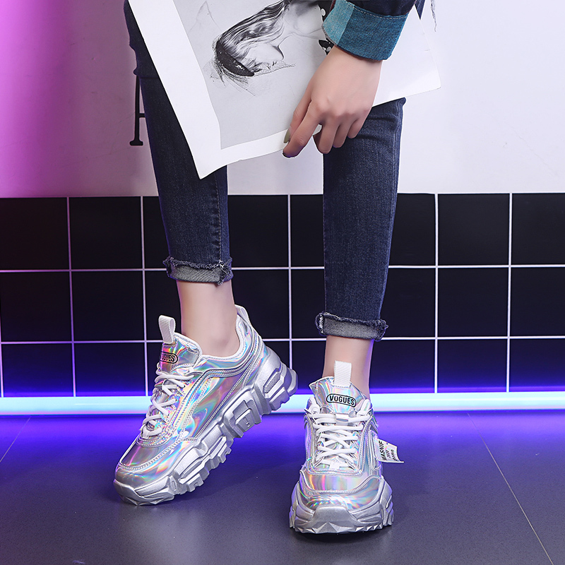 Rimocy Silver Laser Sneakers Chunky Platform Lace Up Casual Shoes Woman Punk Style Flat Thick Bottom Vulcanize Mujer Spring 2020