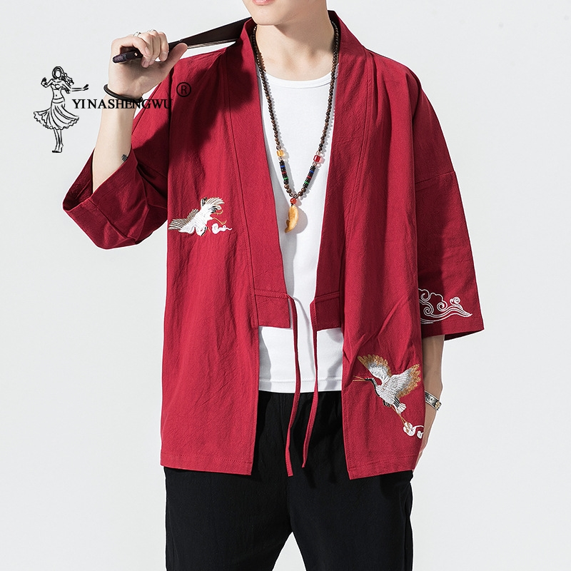 Kimono Cardigan Men Japanese Kimono Traditional Beach Thin Holiday Asian Clothes Cotton Kimonos Yukata Male Fashion Casual Shirt