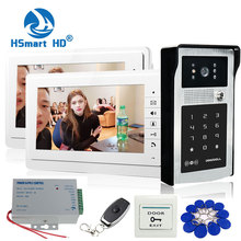 Home Security 7 inch TFT LCD 2 Monitor Video Tür telefon Video Intercom System RFID Passwort Zugang Türklingel 1 Kamera + tür Ausfahrt