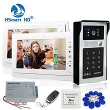 Sistema de intercomunicación de seguridad para el hogar, 7 pulgadas, TFT, LCD, 2 monitores, vídeo para puerta, timbre de acceso con contraseña RFID, 1 cámara + Salida de puerta