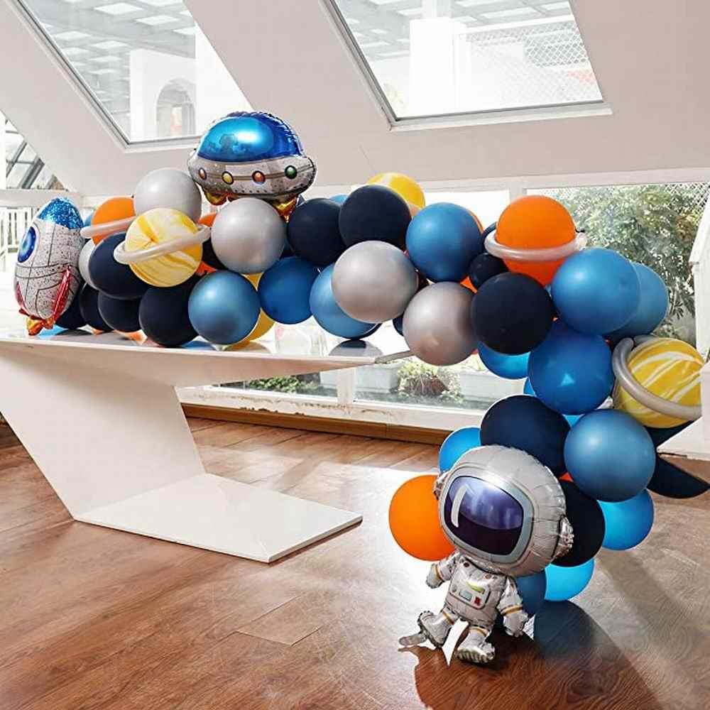الفضاء الخارجي بالون مجموعة جارلاند 85 قطعة الكون الفضاء الكواكب حزب UFO صاروخ رائد الفضاء بالونات الاطفال حفلة عيد ميلاد زينة