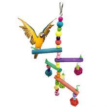 Птица красочные деревянные скалолазание лестница для попугая висячие качели игрушка для волнистых попугаев попугайчик Cockatiel Conure Lovebird зяблик африканский серый