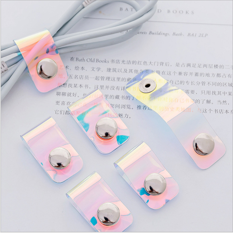 4 / Pack Data Line Protector Transparent Silicone Button Cable Winder Cover Mobile Phone USB Charging Headset Headphone Winder