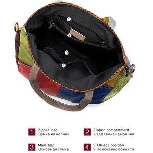Image 4 - WESTAL ハンドバッグ女性の本革大バッグ女性のメッセンジャー/ショルダーバッグパッチワークハンドバッグ革トートバッグ 9135
