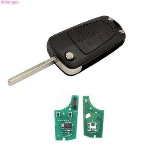 Wilongda Flip clave auto 2 botón remoto 434MHZ pcf7941 Chip para Opel VAUXHALL y ASTRA H llave de coche