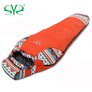 Outdoor Camping Winter Ultralight Thermal Adult Mummy 95% White Duck Down Sleeping Bag Sack Compression Pack For Backpacking 1
