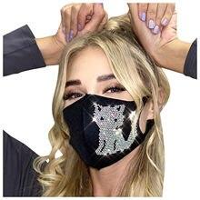 Mascarillas de protección contra el polvo para hombres y mujeres, máscara lavable con elásticos, con estampado de gato y animales, con diamantes brillantes, 1 unidad
