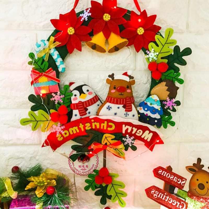 Natale In Feltro Corona Del Pendente Fatti A Mano Decorazione di Natale Fai Da Te Kit di Materiale Di Natale Decorazioni Per La Casa Kerst Decoratie Navidad