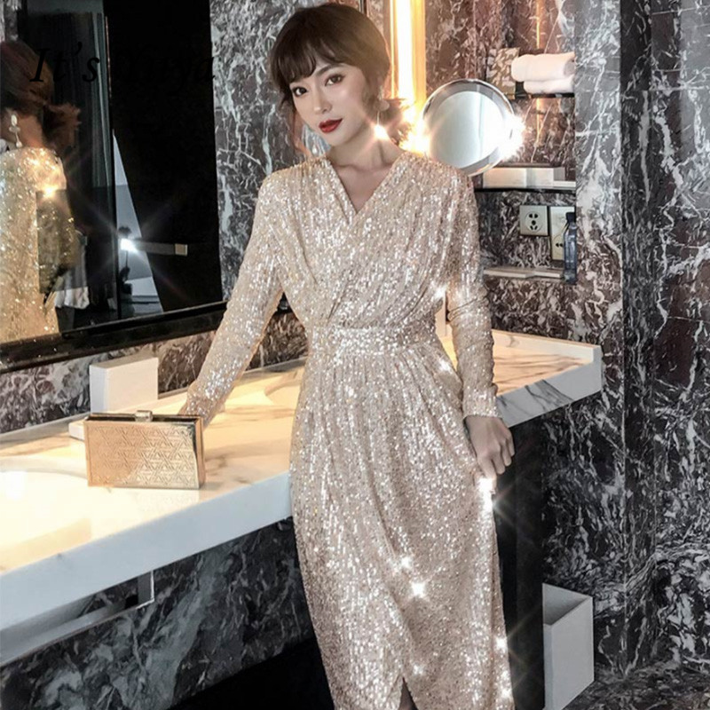It's Yiiya Evening Dress Champagne Sequined Shining Evening Gowns Elegant Full Sleeve Tea-Length Robe De Soiree For Girls K055