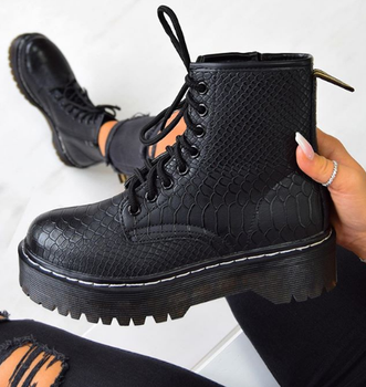 [GOGD]Women Shoes Platform Martins Woman PU Leather Wool Winter Warm Boots Women Plus Size