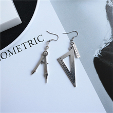 New Creative Funny Vintage Compasses Set Square Drop Earrings Antique Silver Fun for Women Girl Personalized Jewelry