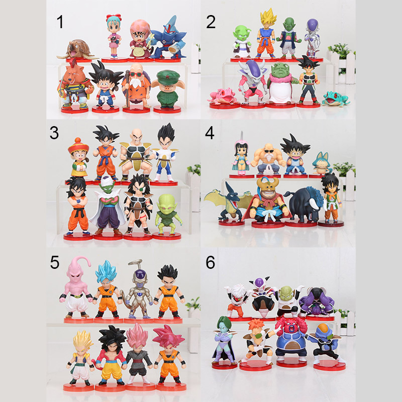8pcs/set 3-10cm Dragon Ball Z WCF Son Goku Chichi DWC Gohan Piccolo Vegeta Nappa Raditz Freeza PVC Action Figure Model Toy