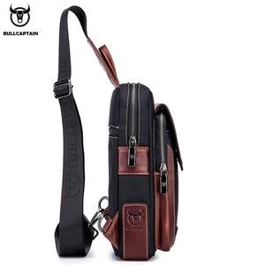 Image 4 - BULLCAPTAIN الساخن الرجال الأولى طبقة جلد البقر عارضة الأزياء الصدر حقيبة بحزام حقيبة رجالية على حقيبة كتف الرجال حقيبة صدر للرجال