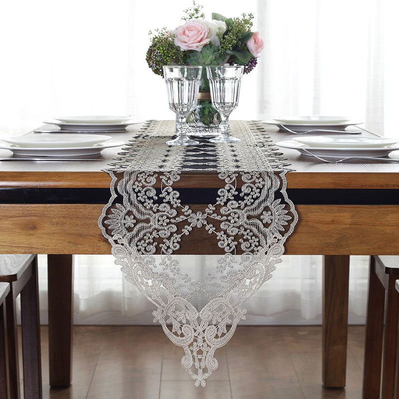White/Black Lace Table Runner Embroidery Table Runners Modern Home Decor Elegant Table Decor Cover Chemin De Table Mariage