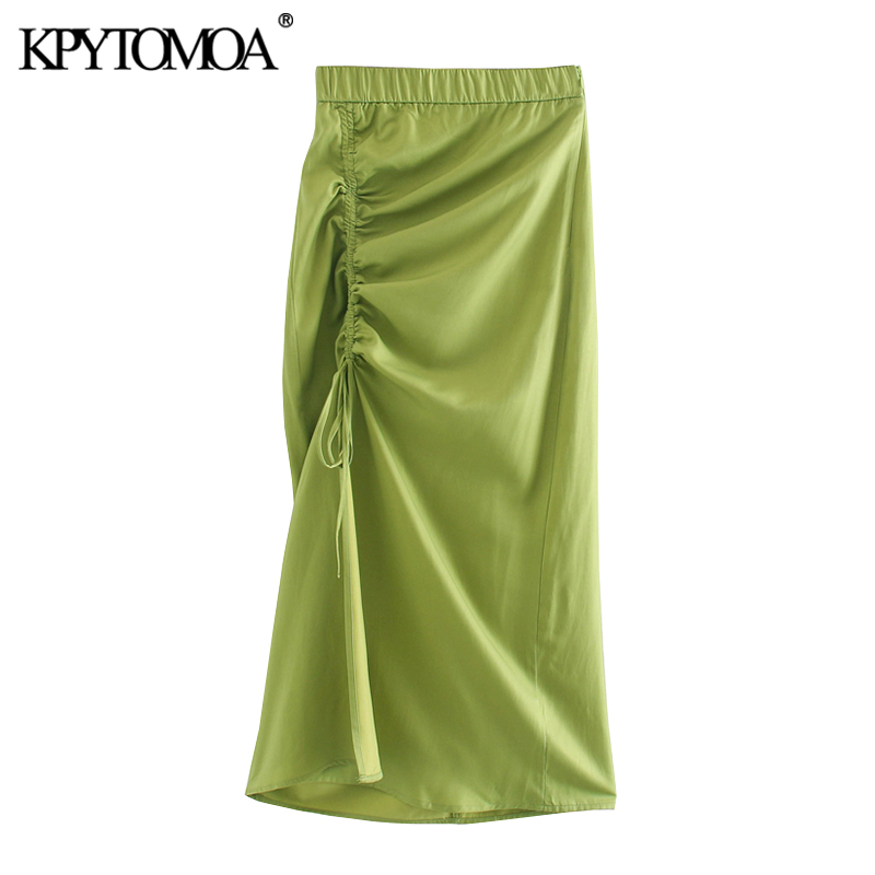 KPYTOMOA Women 2020 Chic Fashion Gathered Midi Skirt Vintage High Elastic Waist Drawstrings Tie Slits Female Skirts Faldas Mujer