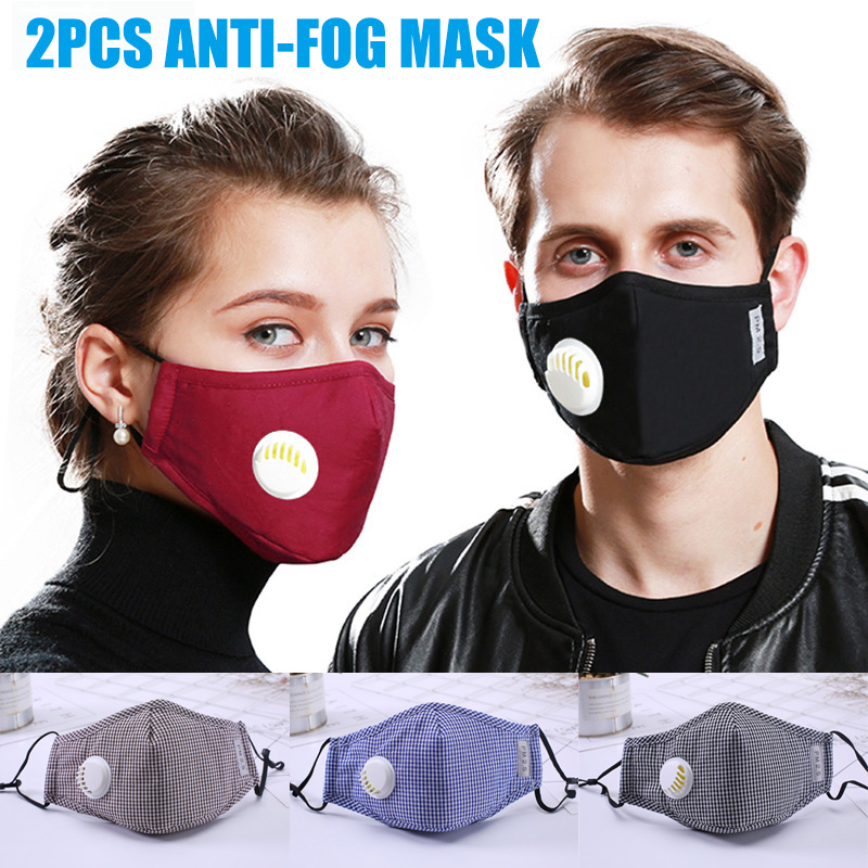 2Pcs Activated Carbon Mouth Mask Respirator Anti PM 2.5 Anti Dust With Exhaust Valve J55