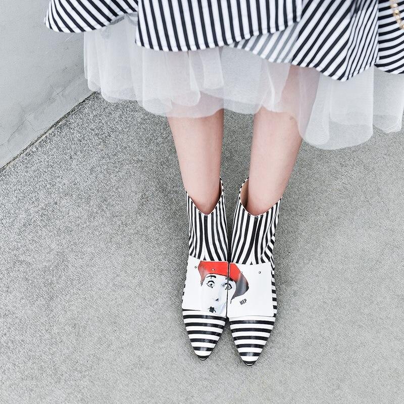 Zvq 여성 신발 겨울 새로운 패션 지적 발가락 정품 가죽 발목 부츠 야외 따뜻한 중반 발 뒤꿈치 플러스 크기 신발 드롭 배송-에서앵클 부츠부터 신발 의  그룹 2