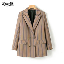 2019 Spring-Autumn Elegant Suits Ladies Striped Women Twill Blazer Notched Collar Double Breasted Blazers Chic Girls Top Clothes